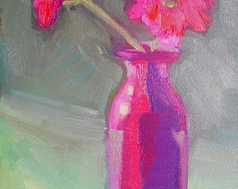 """Pink Flower Painting, Floral Still Life, Small oil painting, 6x8"""" Oil On Panel, Free Shipping in US"""
