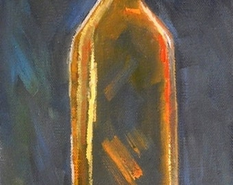"Still Life Bottle Painting, Daily Painting, ""Fluer de Lis"" by Carol Schiff, 6x18x1.5"" Oil Painting, Reduced from 199.00"