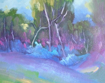 """Landscape Oil Painting, Trees in Shadow, 6x8"""" Landscape, """"Deep Purple"""", Free Shipping in US"""