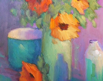 """Flower Still Life Painting, Sunflower Painting, 14x18"""" Floral Painting, Violet, Green, Orange, Turquoise"""