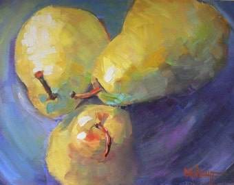 Still Life Pear Giclee Print on Canvas, Daily Painting Print, Small Oil Painting, Free Shipping Print, Choose your size, ready to hang
