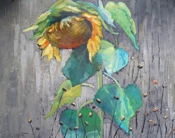 Sunflower Floral Oil Original Painting on Canvas, Palette Knife Textured Artwork, Rustic Farmhouse Flower Wall Decor,