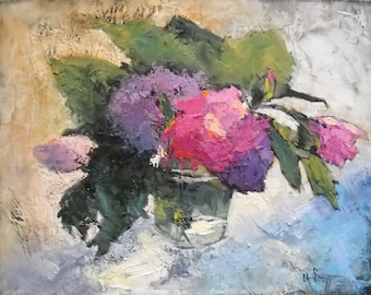 "Floral Still Life, Flower  Painting, Daily Painting, ""Pretty in Pink "" by Carol Schiff, 11x14"" OOAK Still Life, Free Shipping in US"