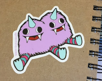 Conjoined monsters die-cut sticker