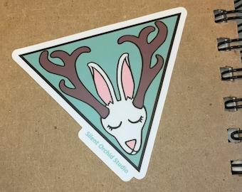 Jackalope die-cut sticker