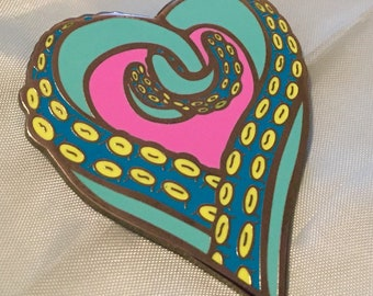 Tentacle Heart enamel pin