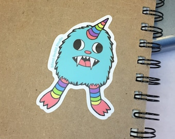 Rainbow monster die-cut sticker