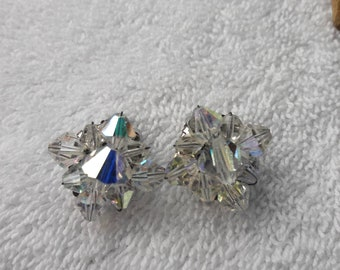 Austrian crystal AB clip on earrings