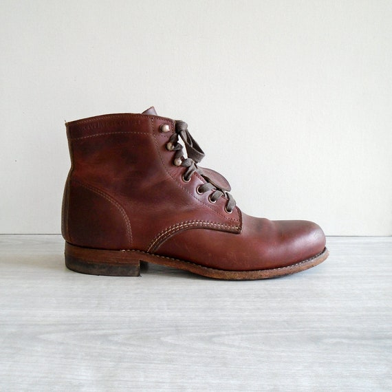 19b36a09be0 wolverine 1000 mile boots, men's size 8, women's size 10, vintage leather  work boots, vintage lace-up leather boots, vintage brown leather
