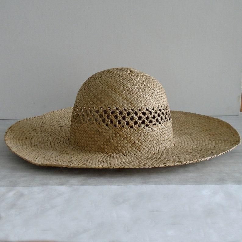 440fdd0e Wide brim straw hat vintage straw hat vintage wide brim | Etsy