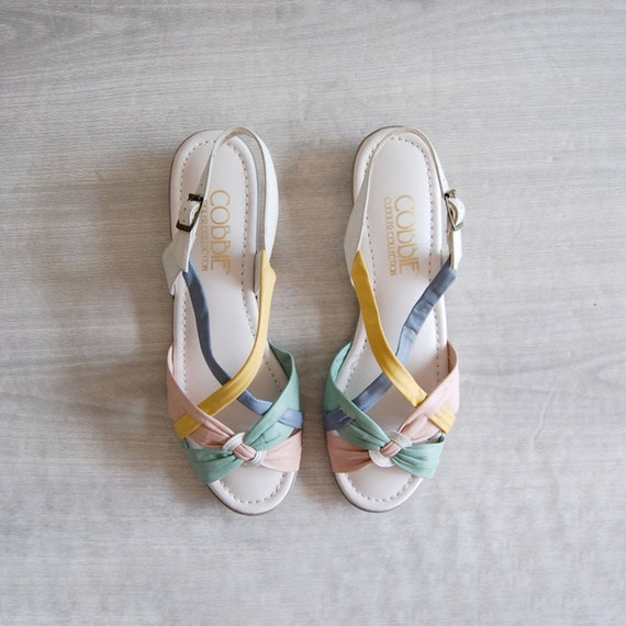 pastel leather sandals, sz 8.5, vintage leather sa