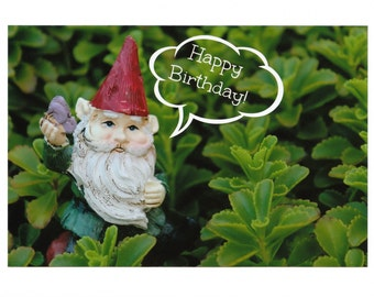 Garden Gnome Happy Birthday Photo Note Cards : Set of Ten