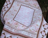 Pink Baby Girl Quilt / Pastel Pink Crib Cot Quilt Blanket / Woodland baby quilt / Pink and Brown Baby Quilt
