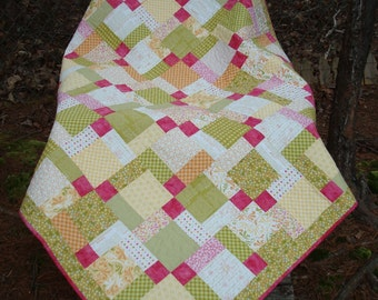 Green Yellow Pink Baby Quilt Lap Quilt