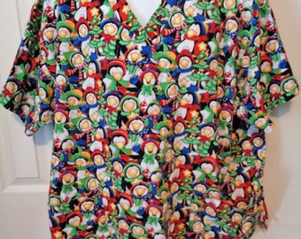 cute christmas penguins scrub top v neck size 2xl country christmas penguins winter hats n scarfs