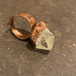 CUSTOM LISTING for Zay ~ Quartz Point Ring ~ Electroplated Copper ~ Adjustable Size 11+