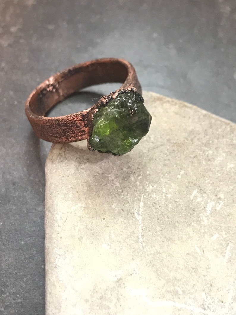 August  Raw Peridot Ring  Copper Electroplated  Your image 0