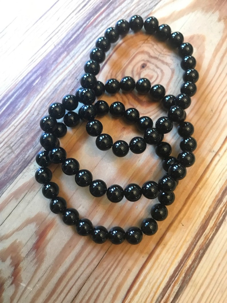 Onyx Beaded Bracelet  Stretchy image 0