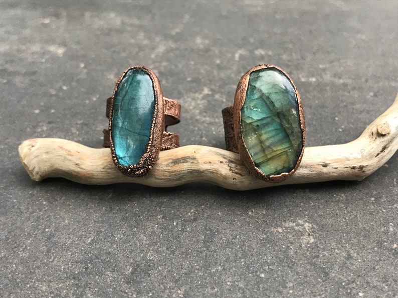 Oceanside  Large Labradorite Ring  Copper Electroplated  image 0
