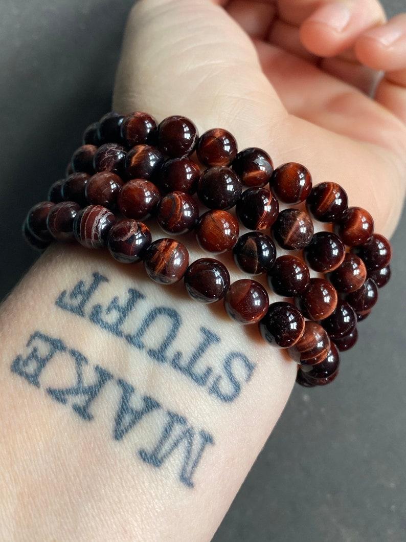 Red Tiger/'s Eye Beaded Bracelet~ Stretchy Stone