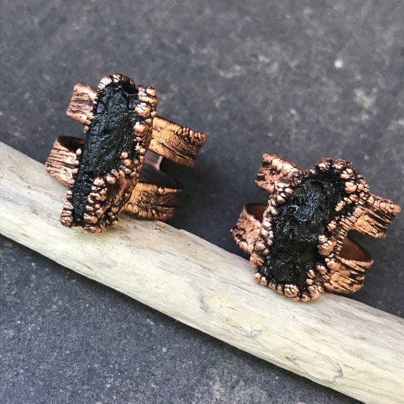 Galactic  Moldavite Ring  Copper Electroplated  Size 7 left