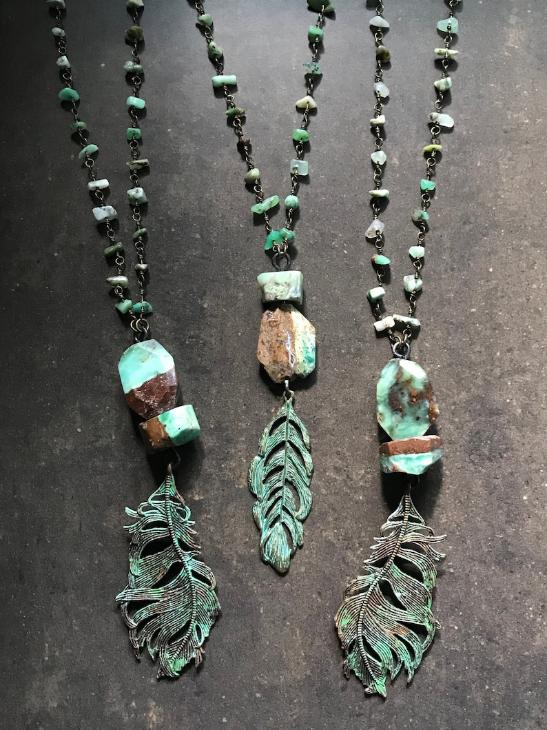 Summer Dreaming  Chrysoprase Necklace with Feather  Your image 0