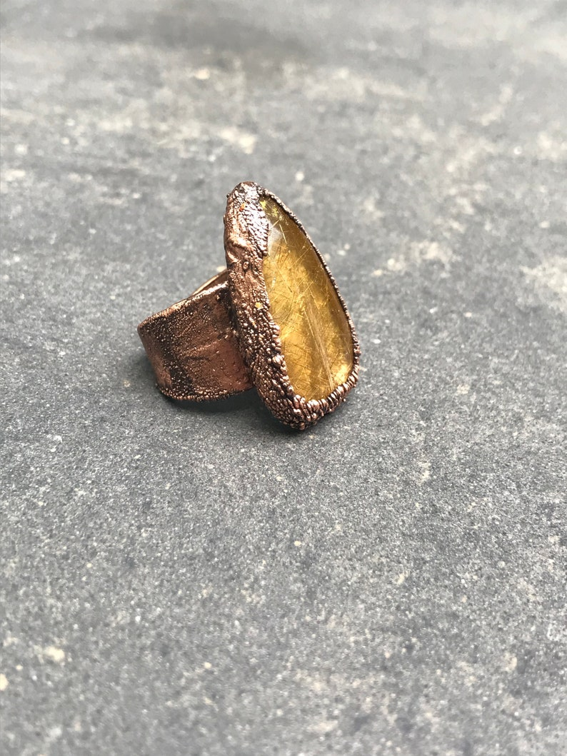Small But Mighty  Golden Rutilated Quartz Ring  Copper image 0