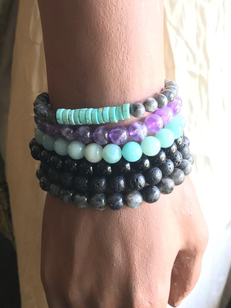 Seed & Sky  Stack Bracelet Set  Mix Stones  Beaded Stretchy image 0