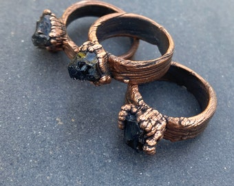 Pulse ~ Smoky Quartz Nugget Ring ~ Adjustable Electroplated ~ Choose Your Size 5 1/4, 5 1/2, 7