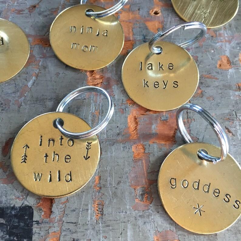 Set of Custom Order Stamped Keychains  3-10   1.5 image 0