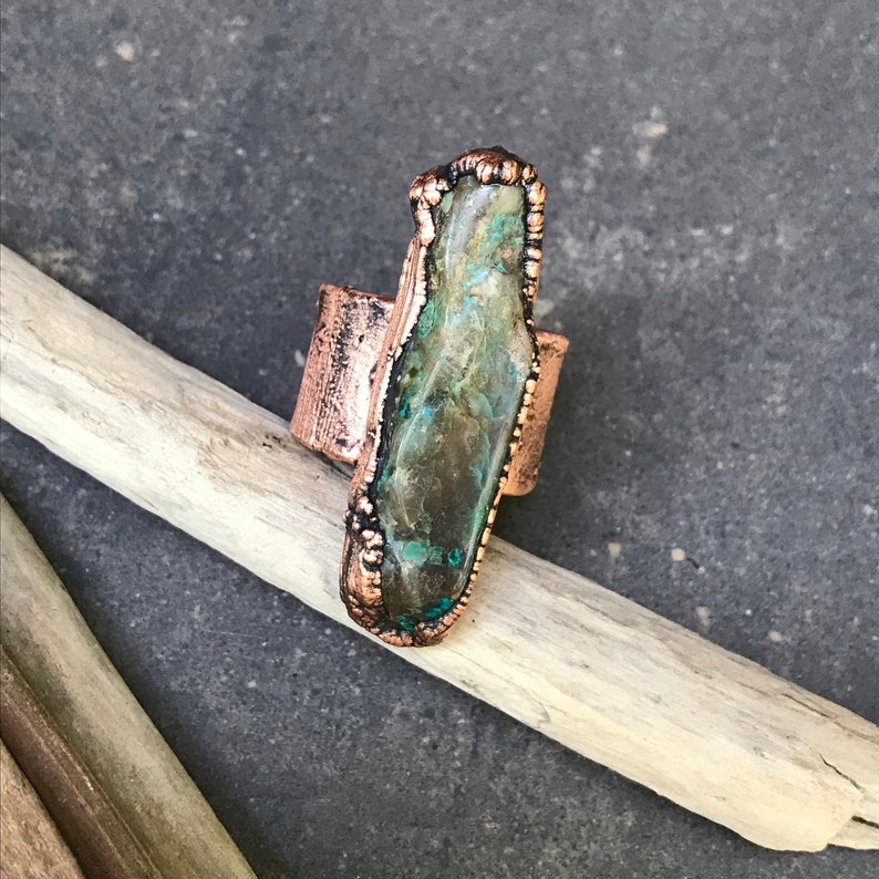 Divine  Chrysocolla Ring  Copper Electroplated  Adjustable image 0