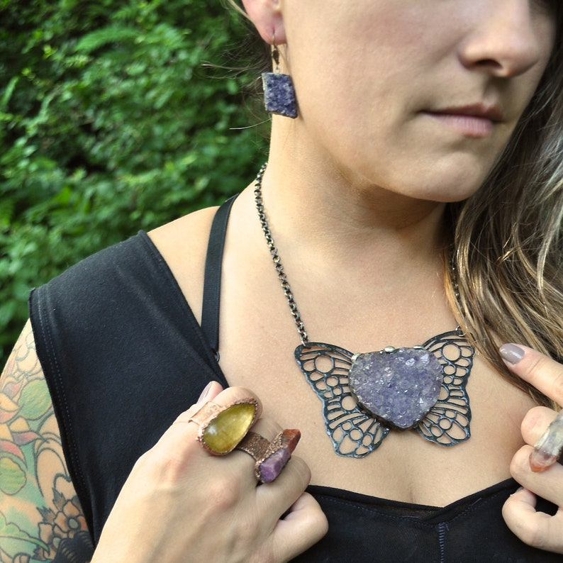 Roots & Wings  Winged Amethyst Necklace  Soldered Wings image 0
