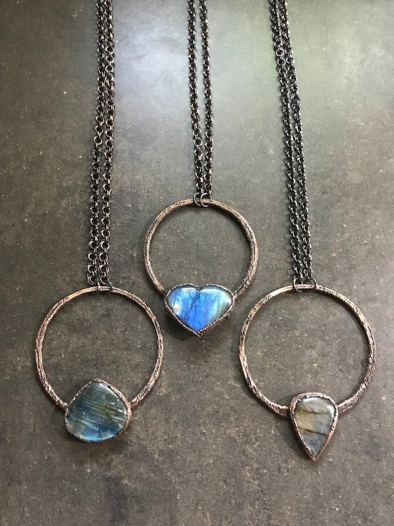 Orbiting Heart  Hand Forged Copper & Labradorite Necklace  image 0