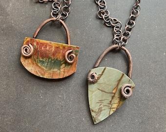 Desert Arrow ~ Red Creek Jasper Necklace ~ Matte Polish ~ Your Choice ~ Copper Electroformed