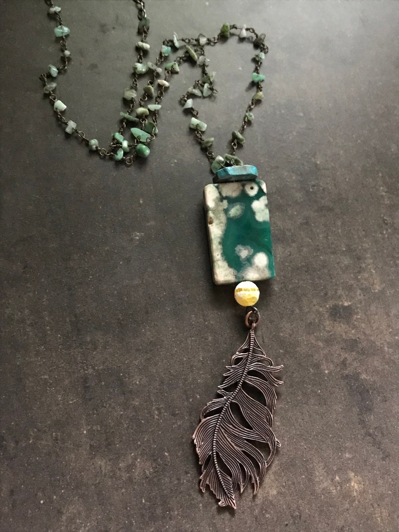Talisman  Chrysoprase Agate and Jasper Necklace with image 0