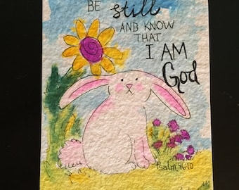 Christian original rabbit watercolor painting psalm Be Still and Know