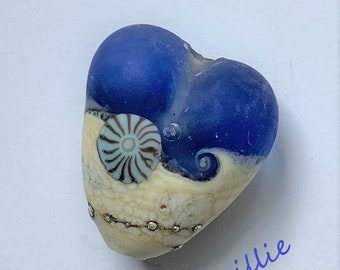 Lampwork Sea glass handmade heart bead ready for pendant, by Oimillie SRA made in the UK