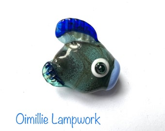 lampwork fish hand made in flame from glass rods blue green fishy ready for your jewellery designs UK seller SRA Oimillie