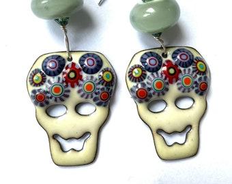 Lampwork earrings Cute Sugar Skull Earrings Gothic Day Of The Dead with small lampwork beads SRA UK lampwork artist