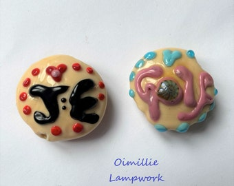 Lampwork bead made to order anniversary or birthday 0r hobby bead with initials on back MTO in UK by Oimillie SRA  on leather thong
