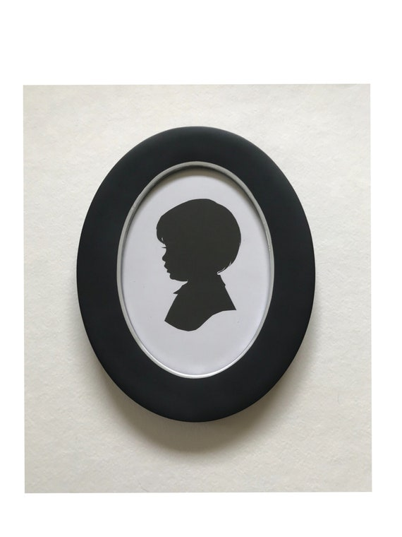 Black Oval Picture Frame 5x7 Real Wood Silhouette Frame
