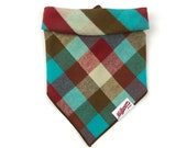 Dog Triangle Bandana Teal Red Tan Plaid Flannel Cotton Gift for Dog Owners Scarf Dog Accessory Handmade Dog Clothing Dog Fashion