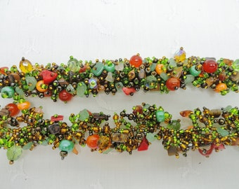 Beaded Necklace and Bracelet, Glass Beads and Gemstones, Woven Jewelry, NIB