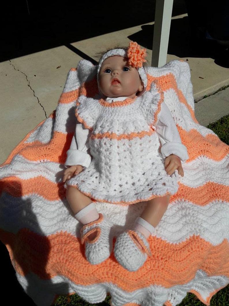 a258c2011 Crochet Baby Layette Set Baby BlanketDressHeadband