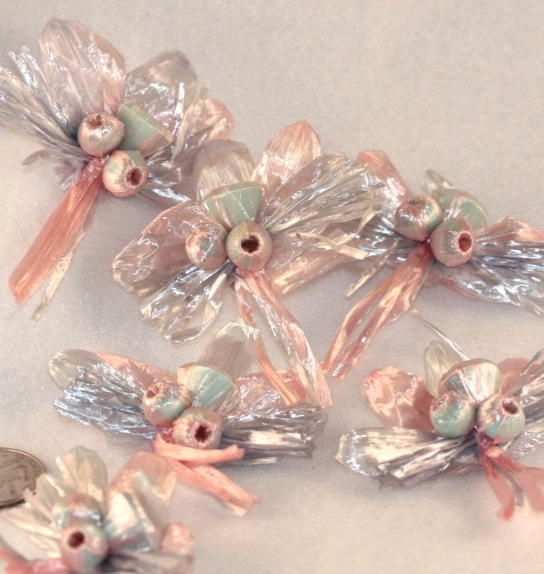 1 Pink and Blue Iridescent Pastel VINTAGE Raffia Bow and Bell appliqueembellishments