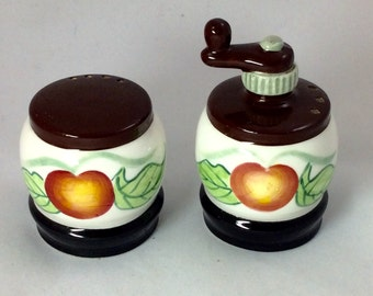 Vintage Hand Painted Peach Barrel/ Coffee Grinder Salt and Pepper Shakers