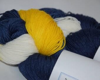 Studio June Yarn Sock Luck - Superwash Merino Wool, Nylon - Blue/Gold