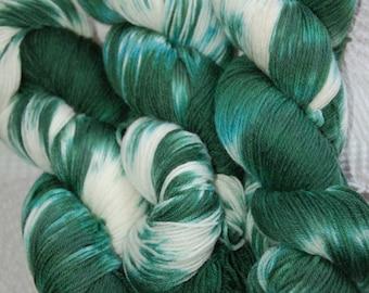 Studio June Yarn Super Cash Sock - Cashmere, Superwash Merino, Nylon Color: Green/White