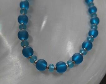 Handmade teal and aqua sea glass necklace