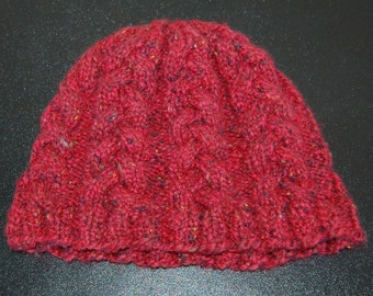 Rose Colored Cable Hand Knit Cap Adult Medium